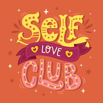 Self love lettering in creative design