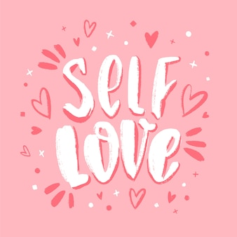 Self love lettering on pink background