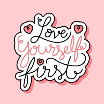 Self love lettering
