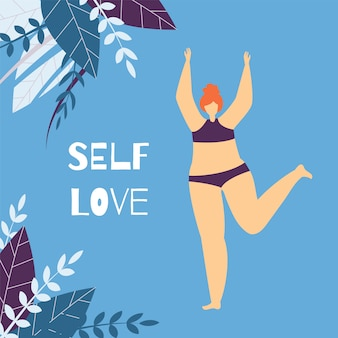 Self love positive text woman motivate flat card