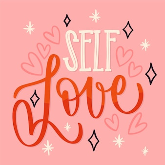 Self love text lettering and hearts