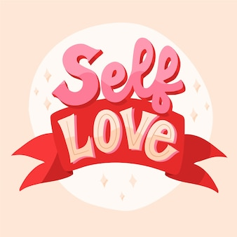 Self love with ribbon text lettering