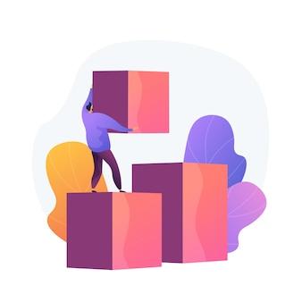 Uomo d'affari fatto da sé. scala di carriera. miglioramento personale, nuove opportunità. uomo con i cubi che costruiscono le scale. crescita aziendale, sviluppo della strategia. illustrazione della metafora del concetto isolato di vettore