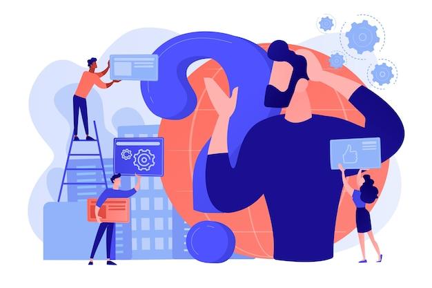 자기 관리, 생활 코칭. 의심, 질문, 브레인 스토밍하는 남자. 정체성 위기, 섬망 및 정신 혼란, 혼란스러운 감정 개념. 분홍빛이 도는 산호 bluevector 고립 된 그림
