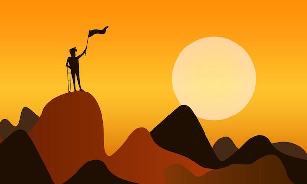 フィニッシュフラッグに到達するために山を登るビジネスマンとして自己克服。勝つための困難な道と成功の概念。