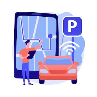 Self-parking car system abstract concept illustration