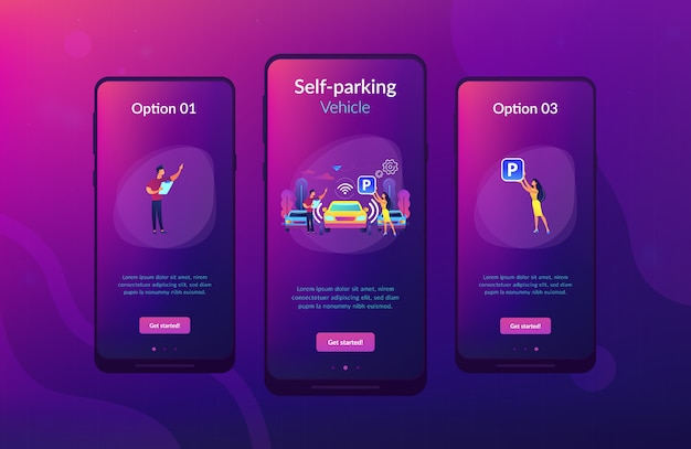 Self-parking car system app interface template.