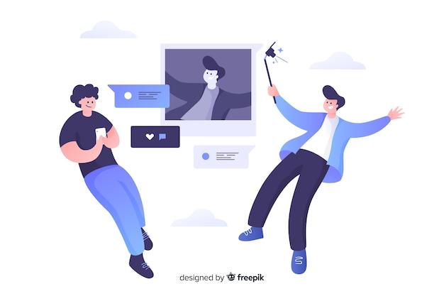 Self photo concept illustration flat design