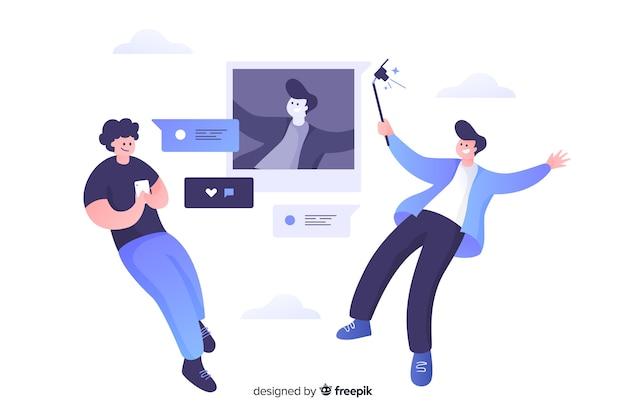 Self фото концепция иллюстрации плоский дизайн