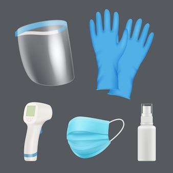 自己防衛装置。現実的な医療ツールは、シールドマスク温度計コロナウイルス予防ベクトル要素に直面しています。個人用機器、手術用手袋、保護マスクのイラストを保護する