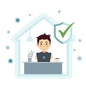 自己検疫の概念。 covid-19ウイルスの発生中は自宅で仕事をする。ラップトップで作業する人。図。