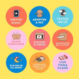 Self quarantine social media story bingo design elements set vector