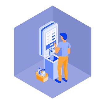 Self service cashier isometric view
