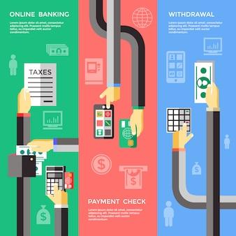 Самообслуживание для банковских операций баннеры