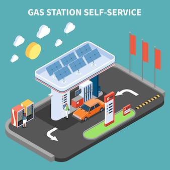 Self service at gas station with payment terminal and vending machine isometric vector illustration