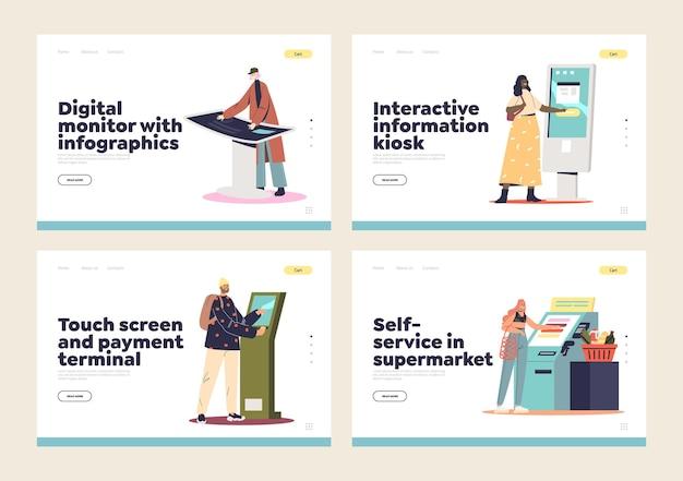 Self service information kiosks, digital cashier terminals landing page set