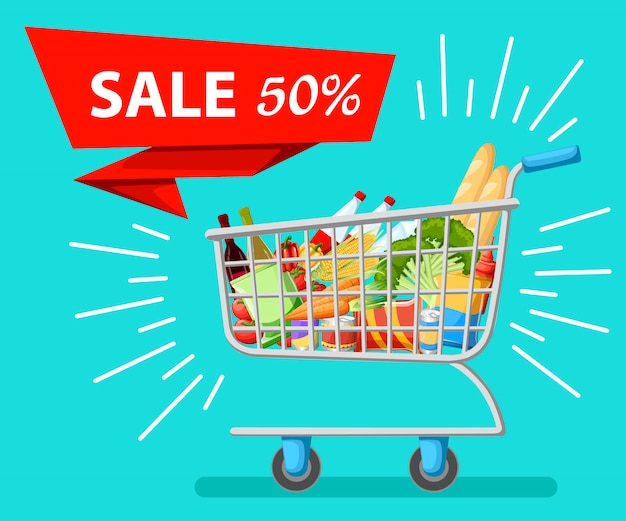 セルフサービスのスーパーマーケットのフルショッピングトロリーカートで、新鮮な食料品と赤いハンドルのリアルなイラスト販売のwebサイトページとモバイルアプリ。
