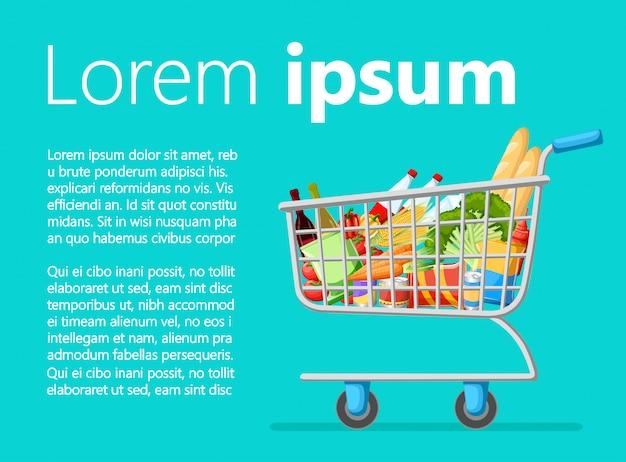 신선한 식료품 제품과 빨간색 핸들 현실적인 일러스트레이션 판매 웹 사이트 페이지 및 모바일 앱이 포함 된 셀프 서비스 슈퍼마켓 전체 쇼핑 트롤리 카트.