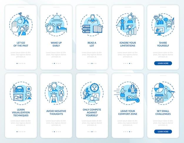 Советы по саморазвитию синий экран страницы мобильного приложения с набором концепций