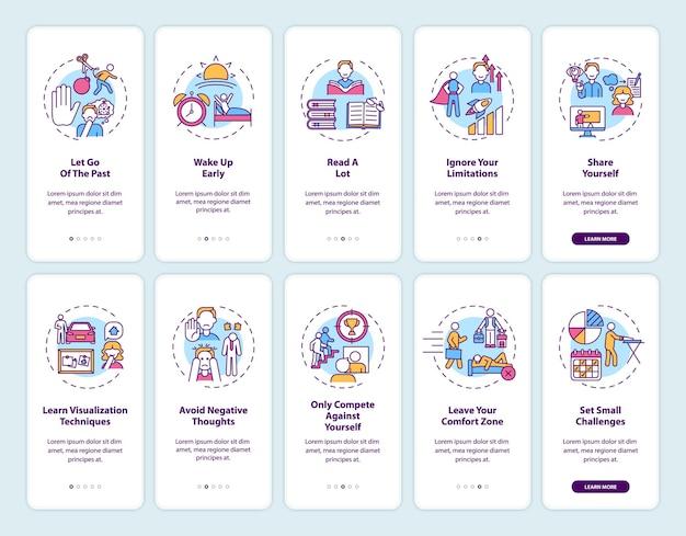 コンセプトが設定されたモバイルアプリページ画面のオンボーディングに関する自己開発のヒント。個人的な挑戦のウォークスルー5ステップのグラフィックの指示。