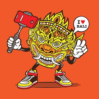 Selfie barong mask bali character