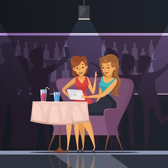 Selfie in cafe with women tablet table and drinks flat vector illustration