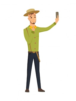 Selfie concept with young man in hat standing and make a self portrait with mobile phone camera in flat style.