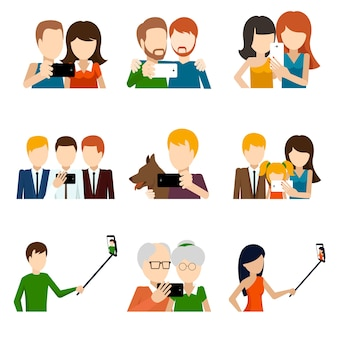 Selfie elements set in flat design style.
