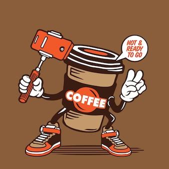 キャラクターデザインに行くselfieホットコーヒーカップ