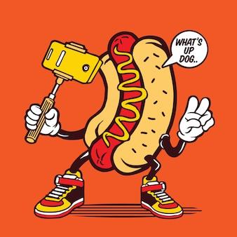 Selfie hotdog bread sandwich beef sausage character design