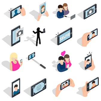 Selfie icons set in isometric 3d style isolated on white background
