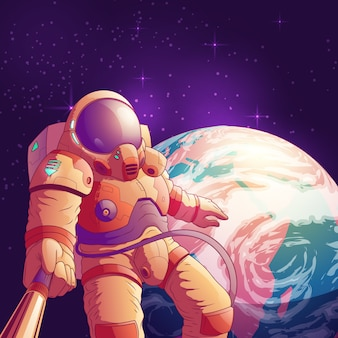 Selfie in outer space cartoon illustration with astronaut in futuristic space suit