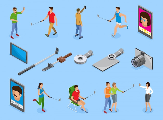 Selfie isometric icons set