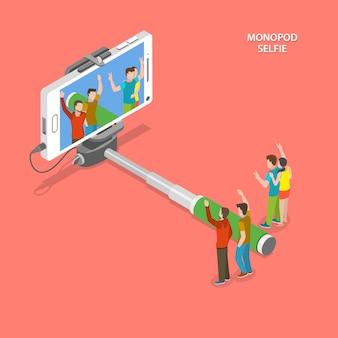 Selfie monopod isometric flat concept.