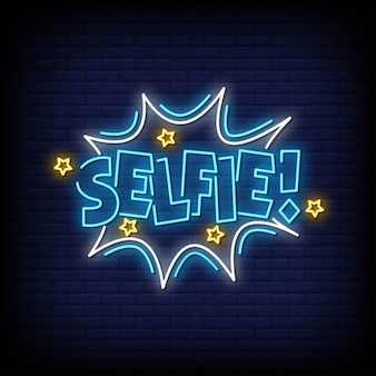 Selfie neon signs style text vector