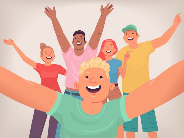 Селфи счастливых друзей. группа молодых людей делает совместное фото для социальных сетей. подростки веселятся. веселая молодежь. векторная иллюстрация в плоском стиле
