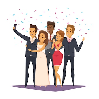 Selfie photo composition with people and celebration symbols flat vector illustration