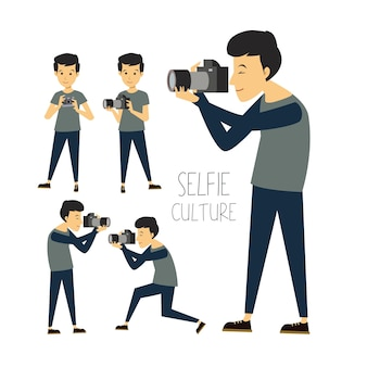 Selfie picture culture cartoon character