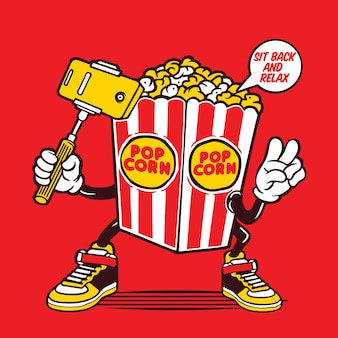 Selfie pop corn box character design