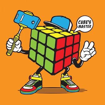 Selfie rubik cube character design