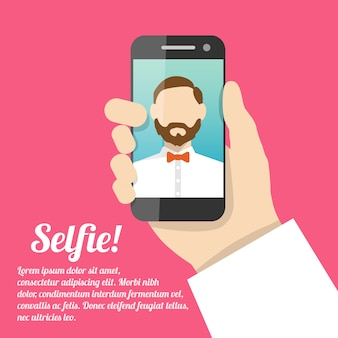 Selfie self portrait with text template