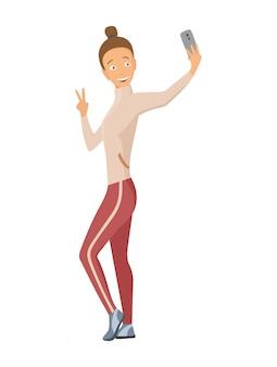 Selfie写真のベクトル図を取って幸せな笑顔若い女。 selfie撮影をしている女の子