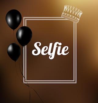 Selfie text in a frame. vector illustration.