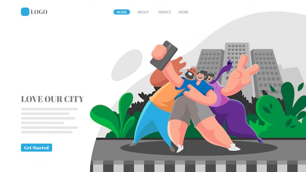 Selfie together in front of city landing page template