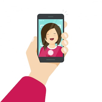 Selfie via smartphone or cellphone or photo of yourself vector illustration