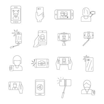 Selfie video photo people icons set