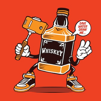 Selfie whiskey bottle character design