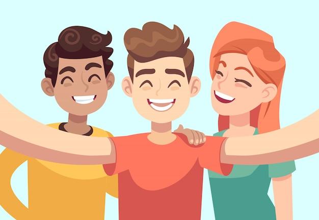 Селфи с друзьями. дружелюбные улыбающиеся подростки, делающие групповой фото-портрет. счастливые люди герои мультфильмов
