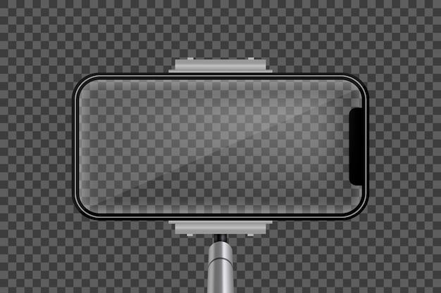 一脚selfieスティック、空の携帯電話の携帯電話の画面。
