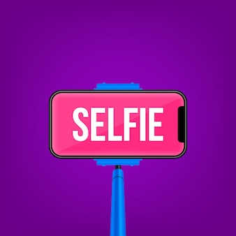 一脚selfieスティック、空の携帯電話のモバイル画面。